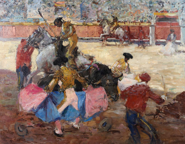 Mario Agostinelli (Italian/American, born 1923) Bullfight scene