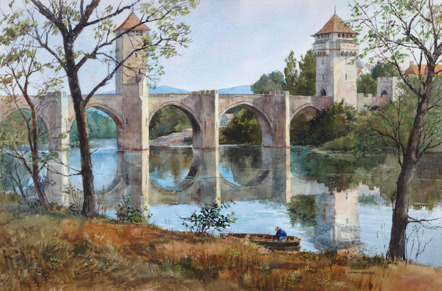 (n/a) James Kramer (American, born 1927) The Bridge at Cahors, 1983 20 x 30in