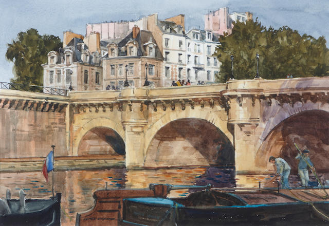 (n/a) James Kramer (American, born 1927) Pont Neuf 9 x 13 1/2in