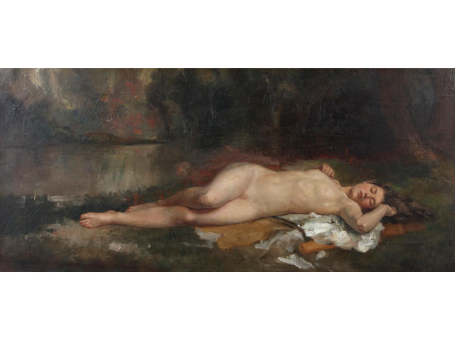 (n/a) Continental School (19th Century) Sleeping nude in a landscape 17 x 36in