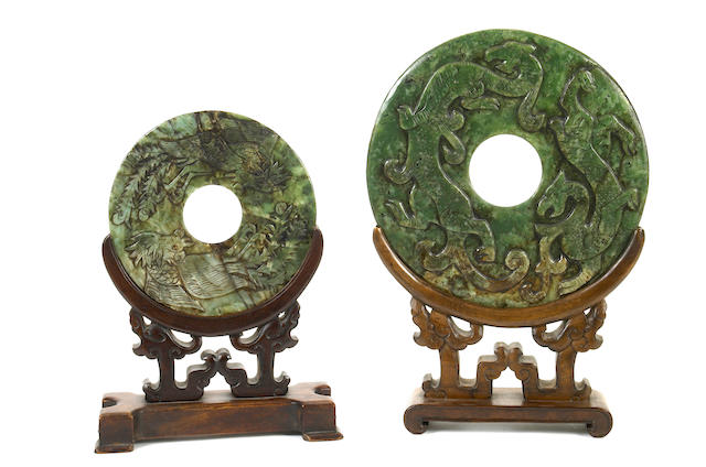 Two archistic carved spinach jade bi discs