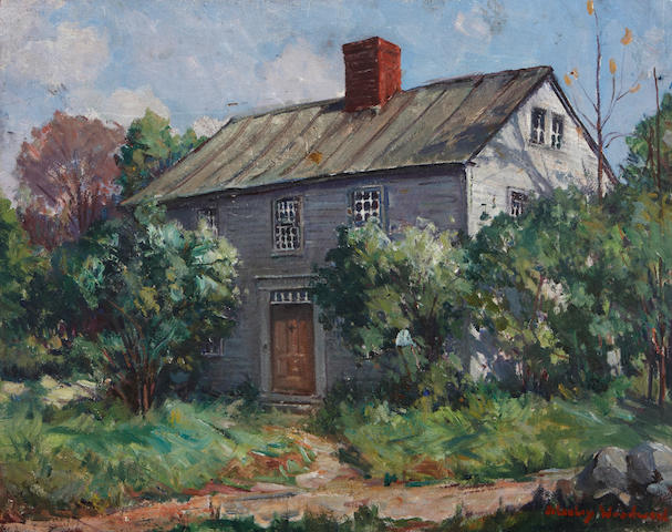 Stanley Wingate Woodward (American, 1890-1970) Cottage Scene 16 x 20 1/4in unframed