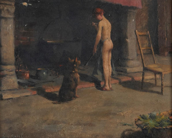 (n/a) Eugene Cadel (French, 1865-1940) At the fireplace 8 1/2 x 10 1/2in