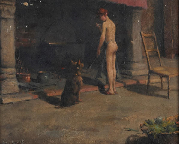 Eugene Cadel (French, 1865-1940) At the fireplace 8 1/2 x 10 1/2in