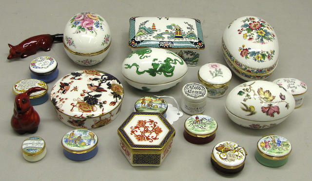 Nine English bone china boxes, eight English enamel boxes and two Royal Doulton red flambé glazed animals 20th century