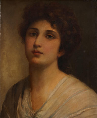 Attributed to Sir Samuel Luke Fildes (British, 1843-1927) A portrait of a girl, shoulder-length 17 3/4 x 13 3/4in