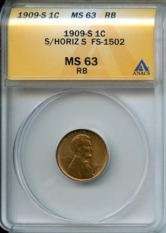 1909-S Lincoln 1C S Over Horizontal S MS63 Red and Brown ANACS