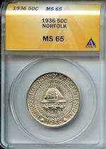 1936 50C Norfolk MS65 ANACS (PCGS 9337).