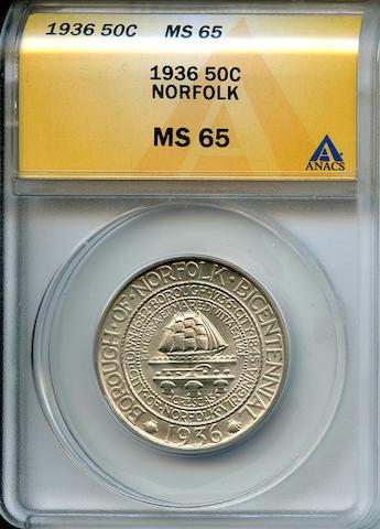 1936 50C Norfolk MS65 ANACS (PCGS 9337).