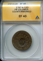 1767-A French Colonies Sou, Countermarked RF XF40 ANACS