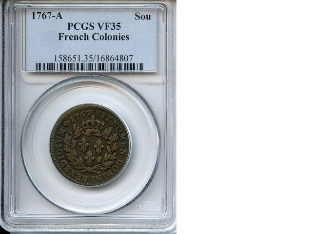 1767-A French Colonies Copper Sou VF35 PCGS