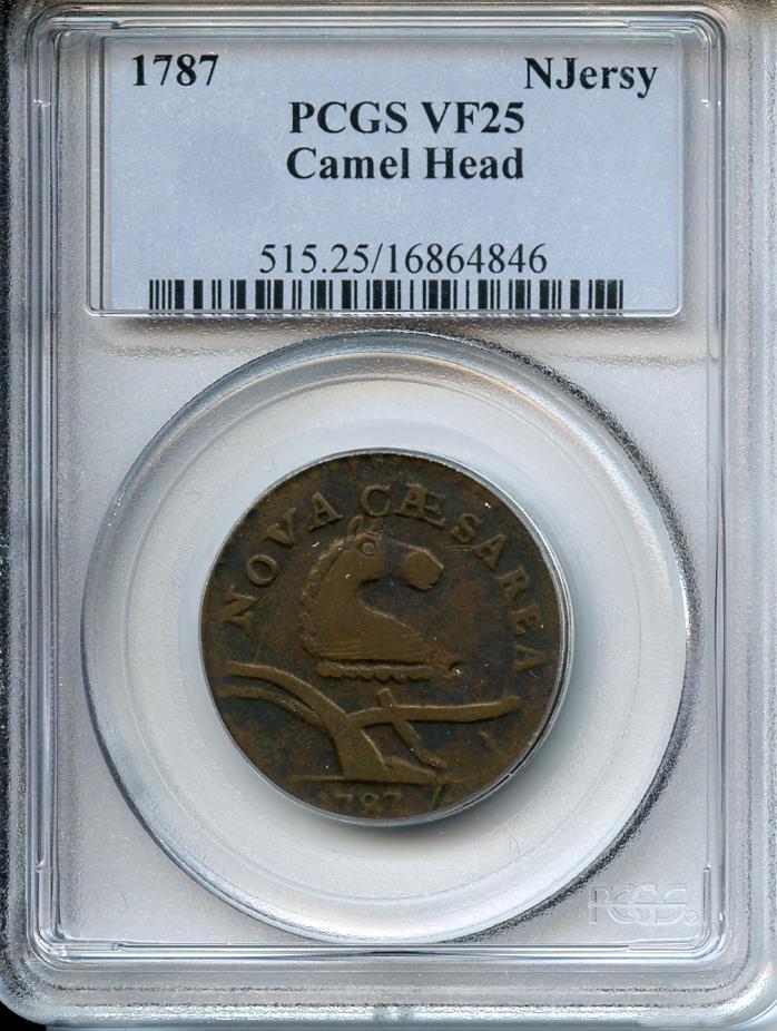 1787 New Jersey Cent, Camel Head VF25 PCGS