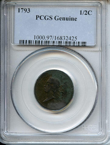 1793 1/2C Genuine, Environmental Damage PCGS