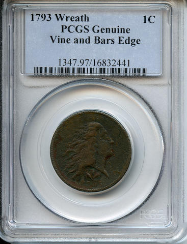 1793 1C Wreath, Vine & Bars Genuine, Environmental Damage PCGS