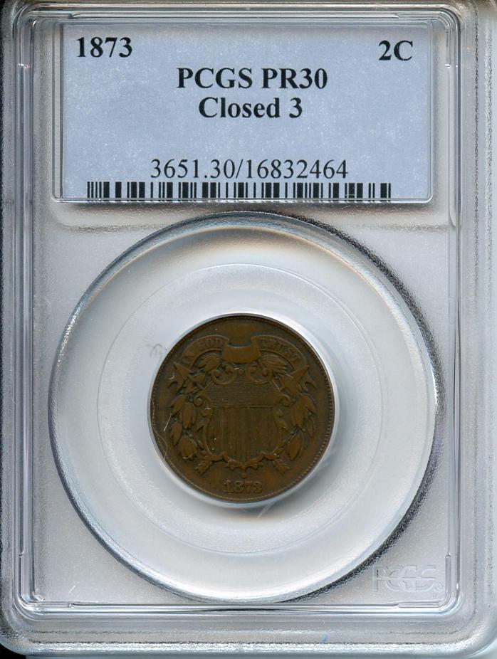 1873 2C Closed 3 Proof 30 PCGS