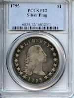 1795 $1 Silver Plug Fine 12 PCGS