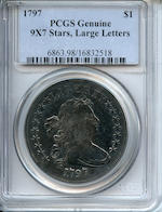 1797 $1 9 X 7 Stars, Large Letters Genuine, Damage, Tooling PCGS