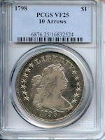 1798 $1 10 Arrows VF25 PCGS