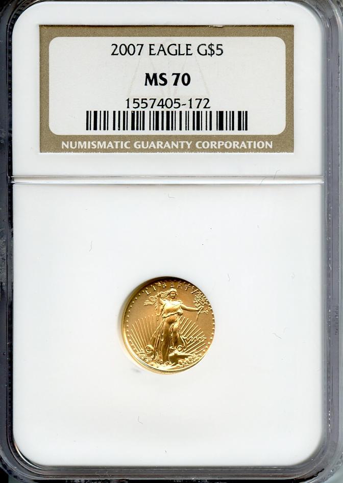 2007 Eagle G$5 MS70 NGC