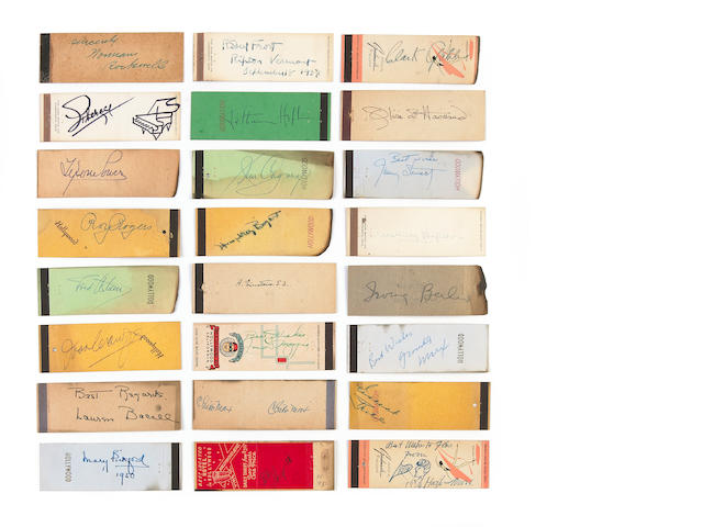 A huge collection of celebrity autographs on matchbooks, 1940s-1950s