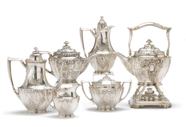 Sterling Six Piece Tea and Coffee Set in the Louis XVI Taste by Tiffany & Co.