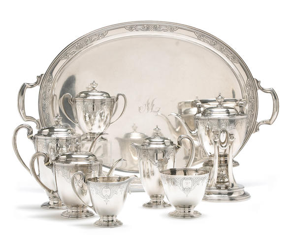 Sterling Seven Piece Tea and Coffee Set with Matching Tray by Tiffany & Co.