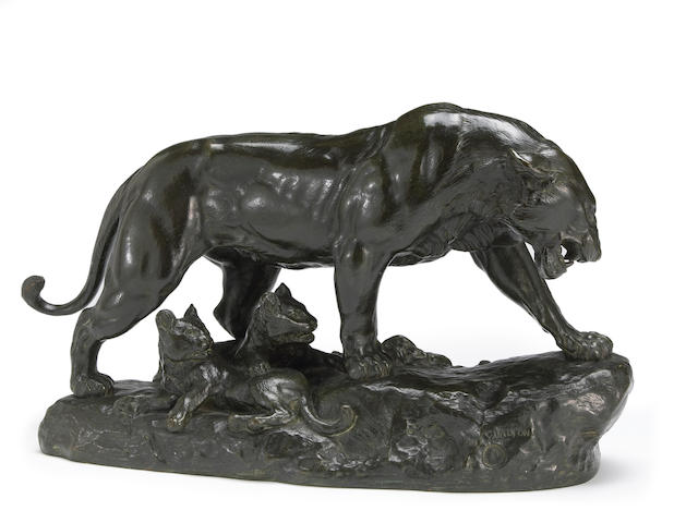 A French patinated bronze animalier group of a lioness and her cubs <br>after a model by Charles Valton (French, 1851-1918)<br>early 20th century
