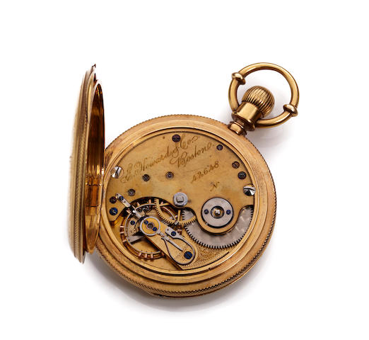 E. Howard & Co., Boston. An 18K gold hunting case keyless lever watchSeries IV, No. 42648