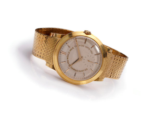"Patek Philippe. A fine and rare 18K gold presentation ""Golden Rule"" wristwatch and bracelet given by Senator Lyndon B. Johnson to Florida Senator George A. Smathers, 1956Ref. 2552, Movement No. 762499, Case No. 693476, the bracelet signed, Tiffany & Co."