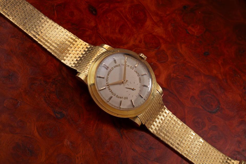 "Patek Philippe. A fine and rare 18K gold presentation ""Golden Rule"" wristwatch and bracelet given by Senator Lyndon B. Johnson to Florida Senator George A. Smathers, 1956Ref. 2552, Movement no. 762499, Case no. 693476, the bracelet signed, Tiffany & Co."