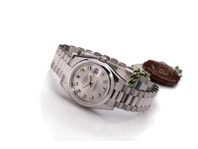 A Rolex platinum ladies braceleet watch with diamond dial