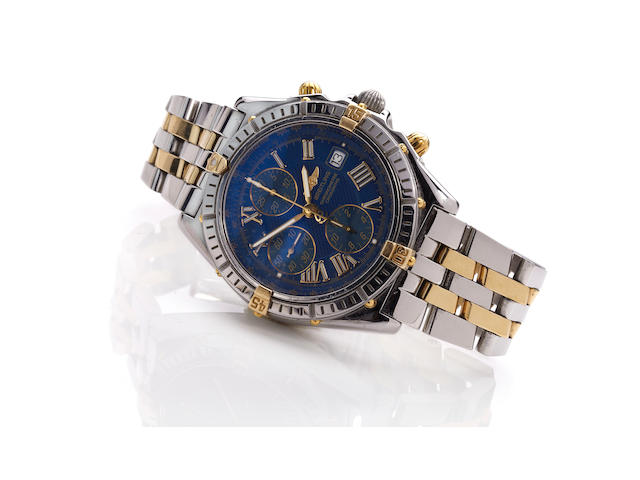 Breitling. A stainless steel and gold wrist chronographCrosswind, Ref. B13355, Case No. 47027, 1990's