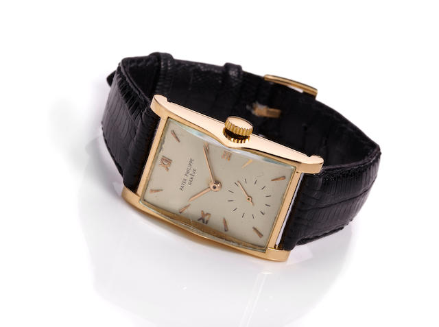 Patek Philippe. A fine and rare 18K rose gold shaped rectangular wristwatchRef. 1588, Movement no. 837219, Case no. 636367, circa 1945