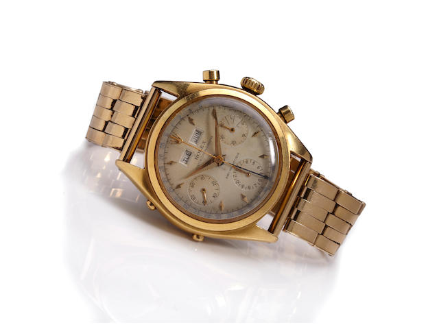 Rolex. A very fine and rare 18K gold wrist chronograph with triple calendarOyster Chronographe, Anti-magnetique, Ref. 6036, case no 917032, circa 1952