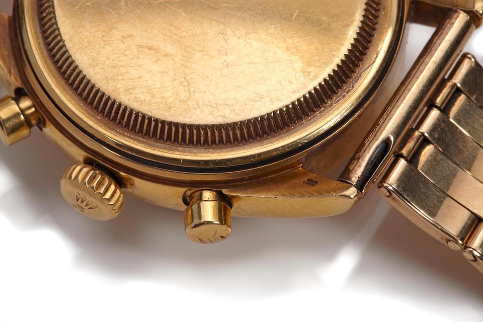 Rolex. A very fine and rare 18K gold wrist chronograph with triple calendarOyster Chronographe, Anti-magnetique, Ref. 6036, case no 917032, circa 1952