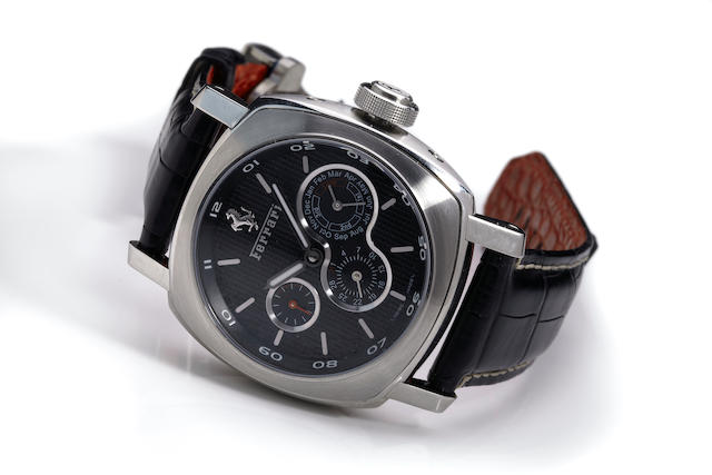 Panerai for Ferrari. A large stainless steel automatic perpetual calendar wristwatchRef. FER00015, No. 002 of 247 examples.