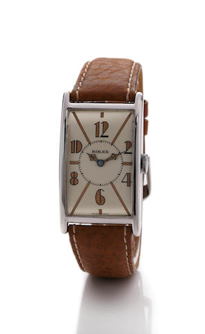 An attractive large Art Deco rectangular curved wristwatchSigned Rolex