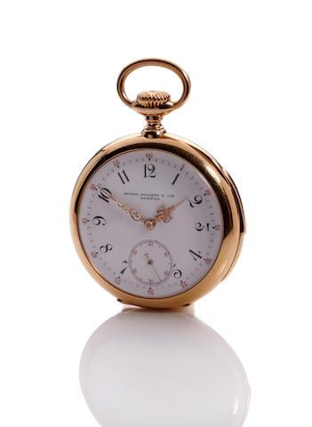 Patek Philippe. A fine 18K gold openface minute repeating watchMovement no. 97984, case no. 222542, circa 1895