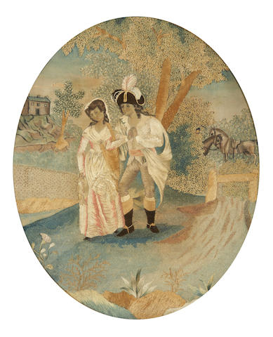 "English early 19th century oval silk picture Circa 1800 of Palemon and Lavinia from the poem ""The Seasons"" by James Thomson, published in 1730, worked in coloured silks in mainly long and short stitches and chenille"