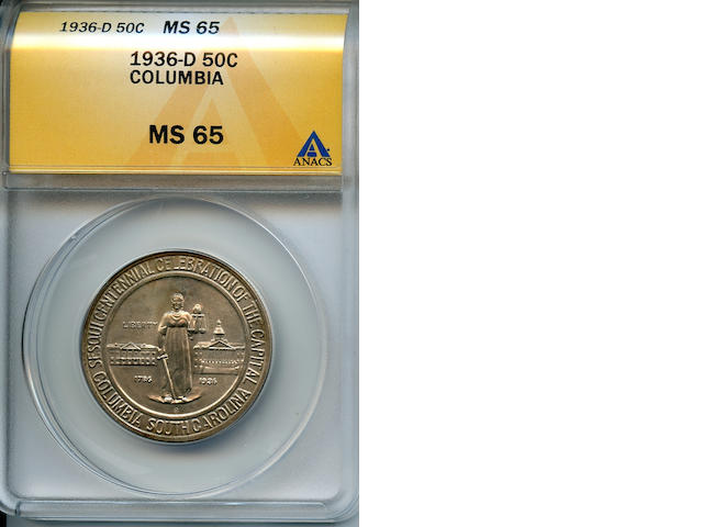 1936-D 50C Columbia MS65 ANACS