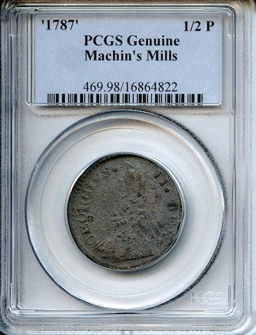 1787 Machin's Mills Halfpenny Genuine, Environmental Damage PCGS