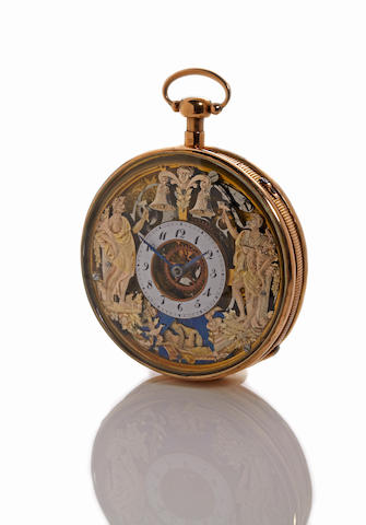 An 18K gold openface quarter repeating verge watch with erotic automatonsigned on the cuvette, Romily à Genève, no. 35000, circa 1810