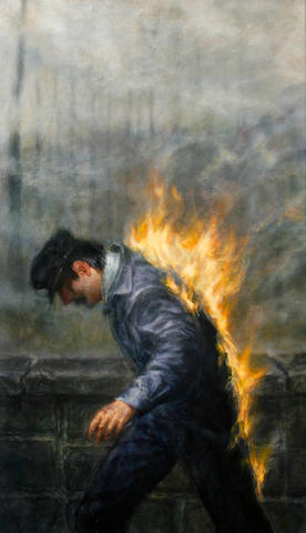 (n/a) Thomas Woodruff (American, born 1957) Man on Fire, 1985 48 x 28in