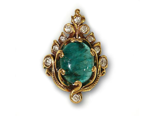 An emerald, diamond, enamel and eighteen karat gold ring, Marcus & Co.