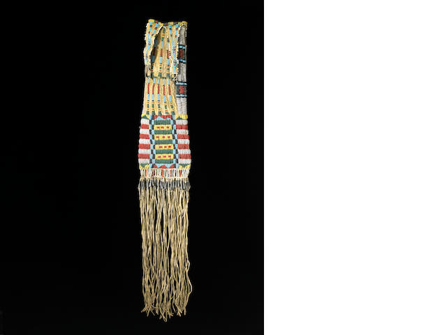A fine and rare Cheyenne beaded tobacco bag