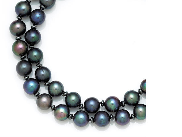 A freshwater colored cultured pearl, hematite and diamond necklace