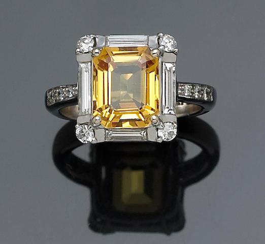 Bonhams A Yellow Sapphire And Diamond Ring