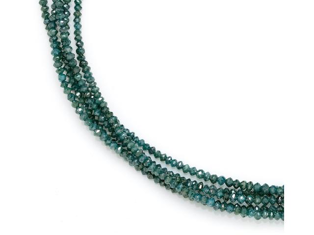 An irradiated blue diamond and diamond multi-strand necklace
