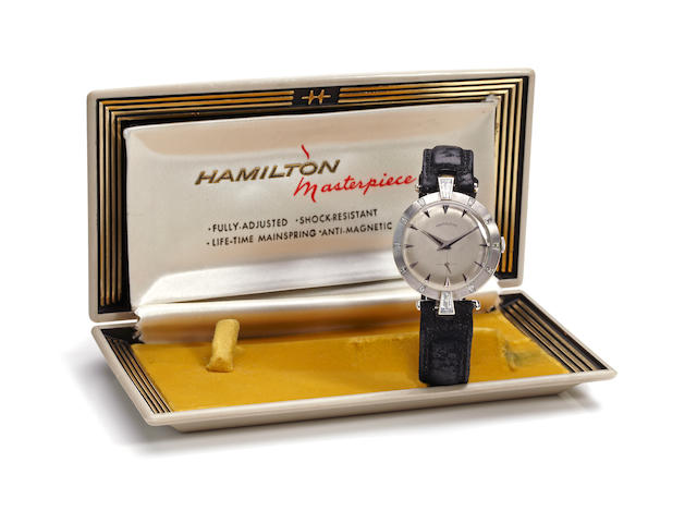 "Hamilton. An extremely rare 18K white gold and diamond wristwatch with original display box and packagingMasterpiece ""Barbizon"", case no. B34667, circa 1957"