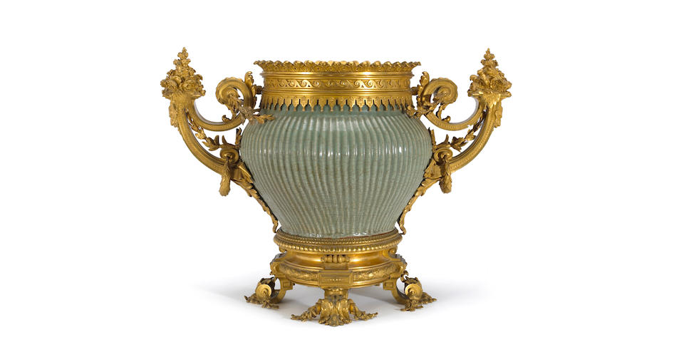 A fine Régence style gilt bronze mounted Chinese celadon glazed stoneware jar  the bronze first half 19th century, the jar Ming Dynasty